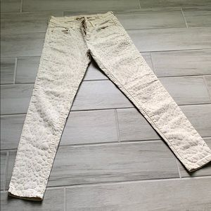 Cream Skinny Jeans with suede leopard print detail